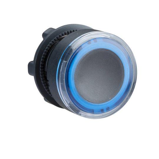 Schneider ZB5AW963 Harmony műanyag világító nyomógomb fej, Ø22, visszatérő, kéken világító perem