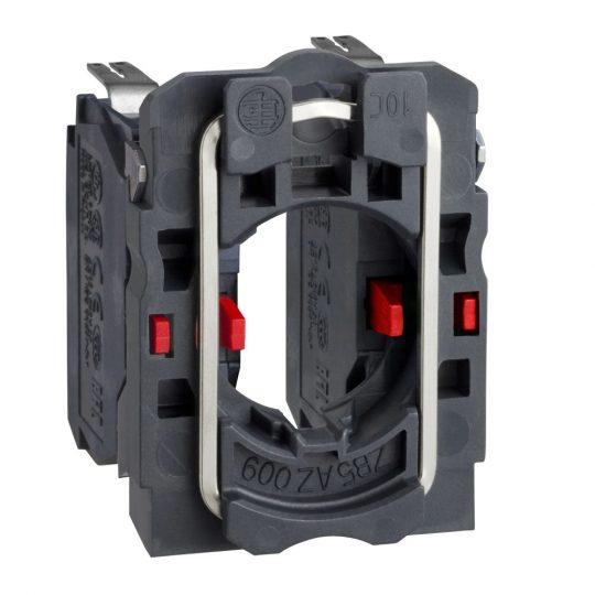 Schneider ZB5AZ1043 Harmony műanyag rögzítőaljzat és érintkezőblokk, 2NC, faston csatlakozós