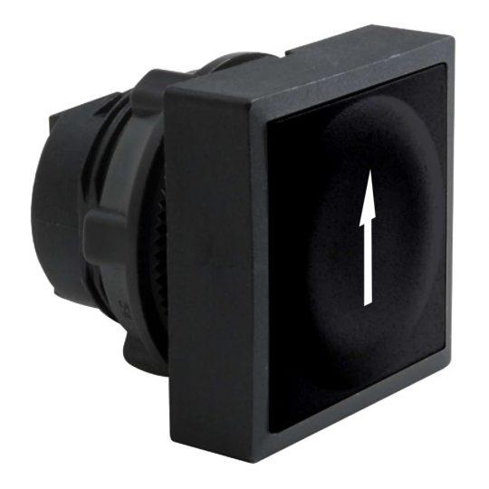 Schneider ZB5CA2912 Harmony műanyag négyszög alakú nyomógomb fej, Ø22, visszatérő, fekete, felfele mutató nyíl jel