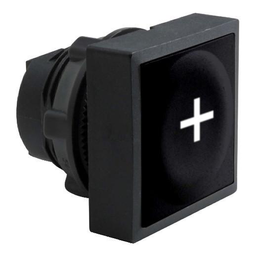 """Schneider ZB5CA2934 Harmony műanyag négyszög alakú nyomógomb fej, Ø22, visszatérő, fekete, """"+"""" jel"""