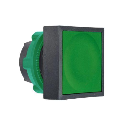 Schneider ZB5CA3 Harmony műanyag négyszög alakú nyomógomb fej, Ø22, visszatérő, zöld