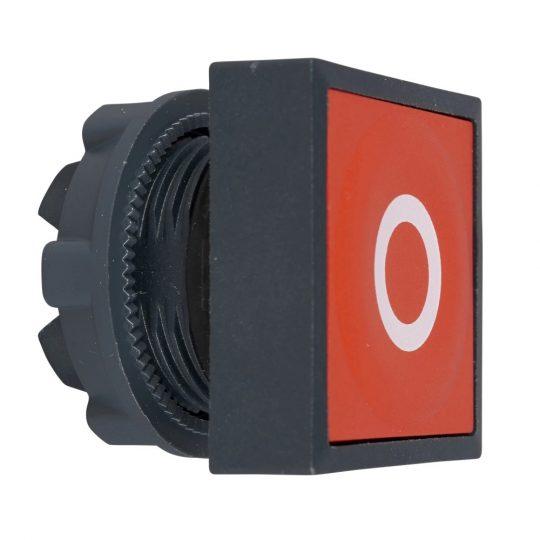 """Schneider ZB5CA432 Harmony műanyag négyszög alakú nyomógomb fej, Ø22, visszatérő, piros, """"O"""""""