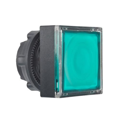 Schneider ZB5CH333 Harmony műanyag négyszög alakú világító nyomógomb fej, Ø22, nyomó-nyomó, LED modulhoz, zöld