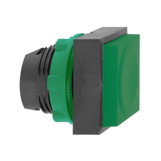 Schneider ZB5CL3 Harmony műanyag négyszög alakú nyomógomb fej, Ø22, visszatérő, kiemelkedő, zöld