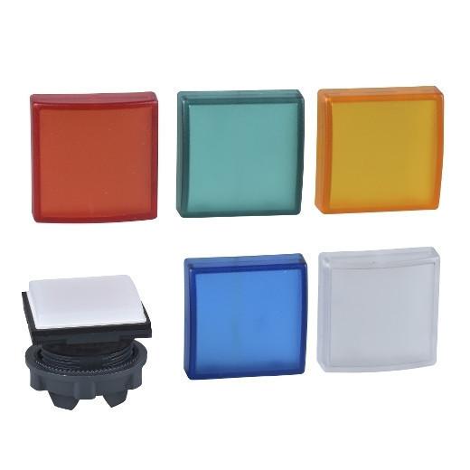 Schneider ZB5CV003 Harmony műanyag négyszög alakú jelzőlámpa fej, Ø22, LED modulhoz, 5 féle színes lencsével