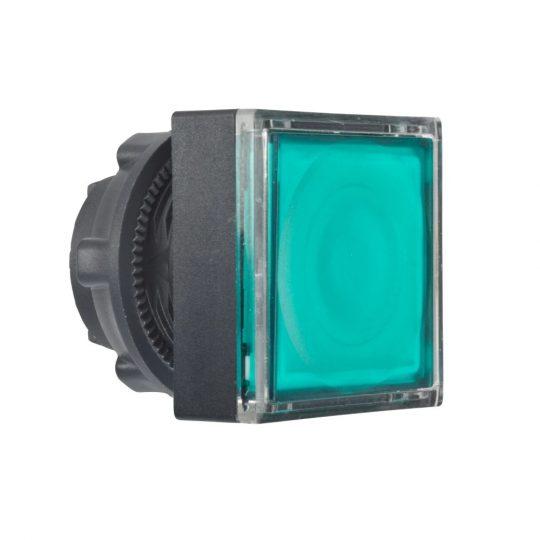 Schneider ZB5CW333 Harmony műanyag négyszög alakú világító nyomógomb fej, Ø22, visszatérő, LED modulhoz, betehető címke, zöld