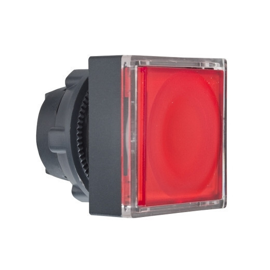 Schneider ZB5CW343 Harmony műanyag négyszög alakú világító nyomógomb fej, Ø22, visszatérő, LED modulhoz, betehető címke, piros