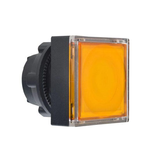 Schneider ZB5CW353 Harmony műanyag négyszög alakú világító nyomógomb fej, Ø22, visszatérő, LED modulhoz, betehető címke, narancssárga