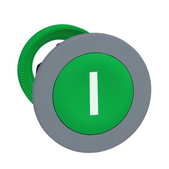 """Schneider ZB5FA331C0 Harmony panelbe süllyesztett műanyag nyomógomb fej, Ø30, zöld, """"I"""", szürke perem"""