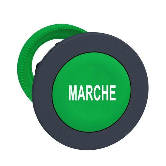 """Schneider ZB5FA342 Harmony panelbe süllyesztett műanyag nyomógomb fej, Ø30, zöld, """"MARCHE"""""""