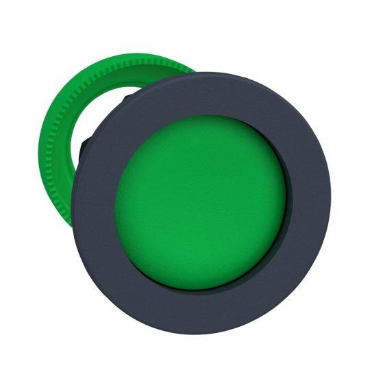 Schneider ZB5FA36 Harmony panelbe süllyesztett műanyag nyomógomb fej, Ø30, visszatérő, mélyítet, zöld