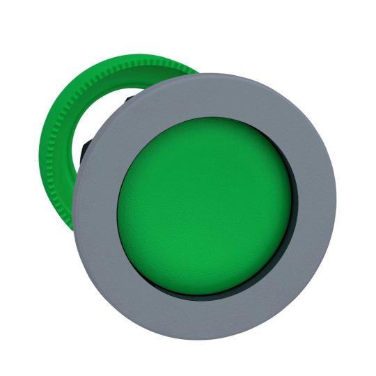 Schneider ZB5FA36C0 Harmony panelbe süllyesztett műanyag nyomógomb fej, Ø30, visszatérő, mélyítet, zöld, szürke perem