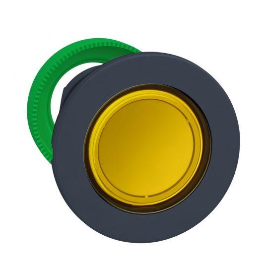 Schneider ZB5FA58 Harmony panelbe süllyesztett műanyag nyomógomb fej, Ø30, visszatérő, címkézhető tetővel, sárga