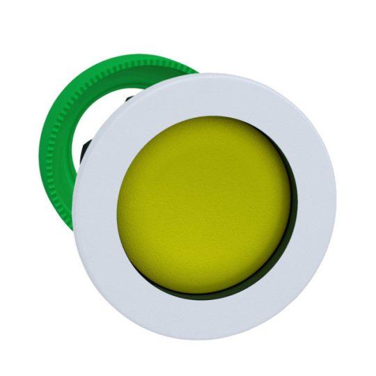 Schneider ZB5FA5C1 Harmony panelbe süllyesztett műanyag nyomógomb fej, Ø30, visszatérő, sárga, fehér perem