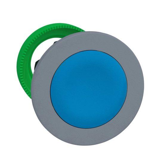 Schneider ZB5FA66C0 Harmony panelbe süllyesztett műanyag nyomógomb fej, Ø30, visszatérő, mélyítet, kék, szürke perem