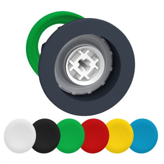Schneider ZB5FA9 Harmony panelbe süllyesztett műanyag nyomógomb fej, Ø30, visszatérő, 6 eltérű színű tető