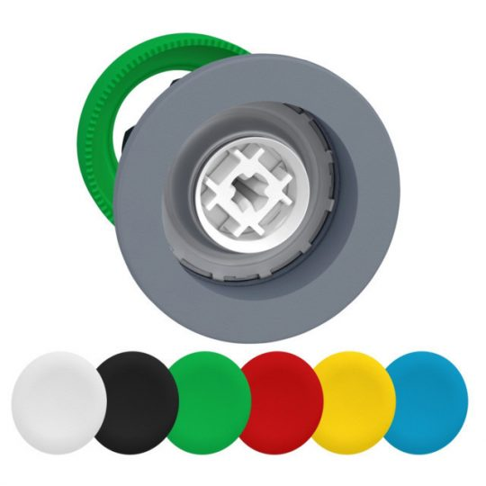 Schneider ZB5FA9C0 Harmony panelbe süllyesztett műanyag nyomógomb fej, Ø30, visszatérő, 6 eltérű színű tető, szürke perem