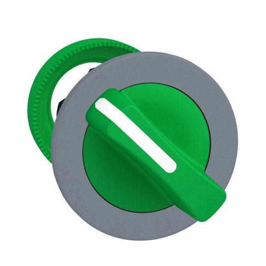 Schneider ZB5FD203C0 Harmony panelbe süllyesztett műanyag választókapcsoló fej, Ø30, 2 állású, zöld, szürke perem