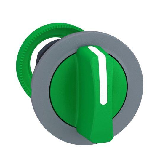 Schneider ZB5FD303C0 Harmony panelbe süllyesztett műanyag választókapcsoló fej, Ø30, 3 állású, zöld, szürke perem