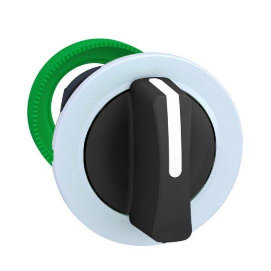 Schneider ZB5FD3C1 Harmony panelbe süllyesztett műanyag választókapcsoló fej, Ø30, 3 állású, fekete, fehér perem