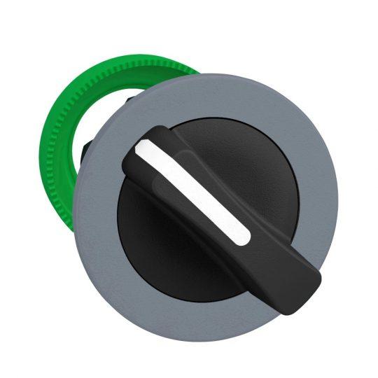 Schneider ZB5FD4C0 Harmony panelbe süllyesztett műanyag választókapcsoló fej, Ø30, 2 állású visszatérő, fekete, szürke perem
