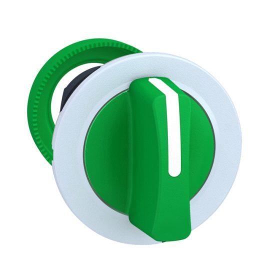 Schneider ZB5FD503C1 Harmony panelbe süllyesztett műanyag választókapcsoló fej, Ø30, 3 állású középre visszatérő, zöld, fehér perem