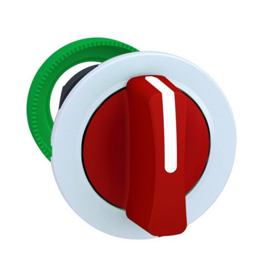 Schneider ZB5FD504C1 Harmony panelbe süllyesztett műanyag választókapcsoló fej, Ø30, 3 állású közép visszatérő, piros, fehér perem