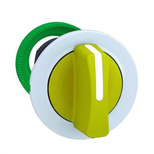Schneider ZB5FD505C1 Harmony panelbe süllyesztett műanyag választókapcsoló fej, Ø30, 3 állású közép visszatérő, sárga, fehér perem