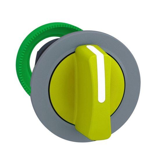Schneider ZB5FD805C0 Harmony panelbe süllyesztett műanyag kapcsoló fej, Ø30, 3 állású jobbról középre visszatérő, sárga, szürke perem