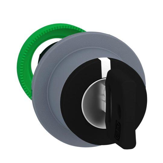 Schneider ZB5FG0C0 Harmony panelbe süllyesztett műanyag választókapcsoló fej, Ø30, 455 kulcsos, 3 állású, szürke perem