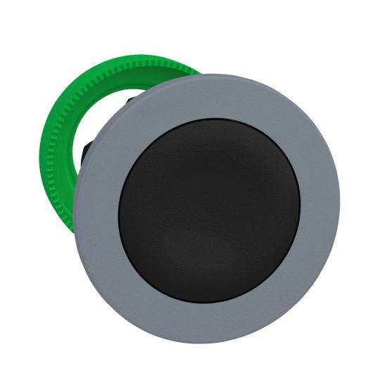 Schneider ZB5FH02C0 Harmony panelbe süllyesztett műanyag nyomógomb fej, Ø30, fekete, nyomó-nyomó, szürke perem