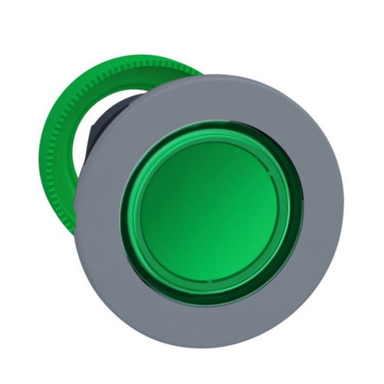 Schneider ZB5FH033C0 Harmony panelbe süllyesztett műanyag világító nyomógomb fej, Ø30, zöld, nyomó-nyomó, szürke perem