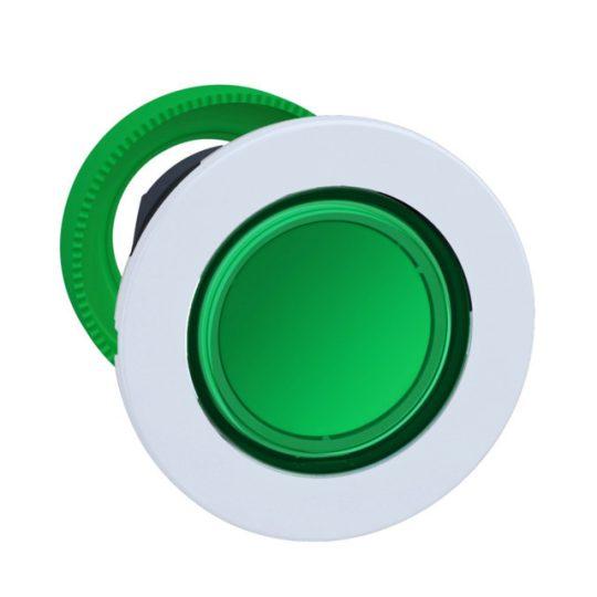 Schneider ZB5FH033C1 Harmony panelbe süllyesztett műanyag világító nyomógomb fej, Ø30, zöld, nyomó-nyomó, fehér perem