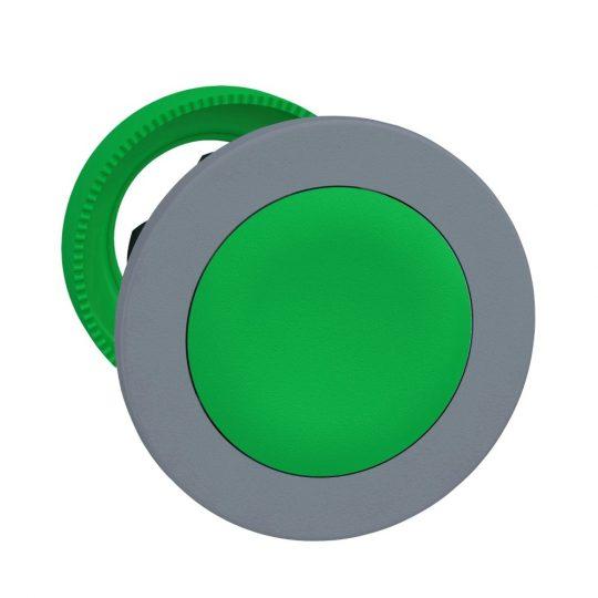 Schneider ZB5FH03C0 Harmony panelbe süllyesztett műanyag nyomógomb fej, Ø30, zöld, nyomó-nyomó, szürke perem