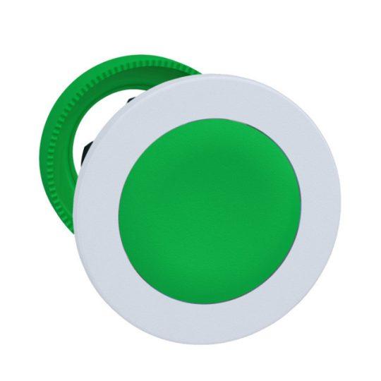 Schneider ZB5FH03C1 Harmony panelbe süllyesztett műanyag nyomógomb fej, Ø30, zöld, nyomó-nyomó, fehér perem
