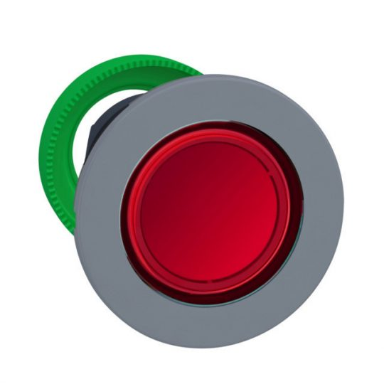 Schneider ZB5FH043C0 Harmony panelbe süllyesztett műanyag világító nyomógomb fej, Ø30, piros, nyomó-nyomó, szürke perem