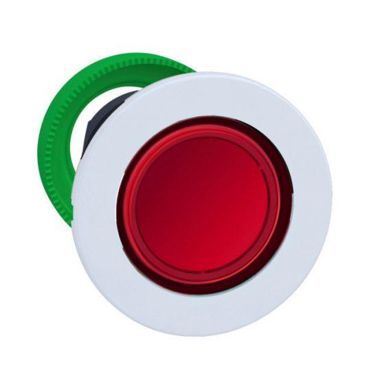 Schneider ZB5FH043C1 Harmony panelbe süllyesztett műanyag világító nyomógomb fej, Ø30, piros, nyomó-nyomó, fehér perem