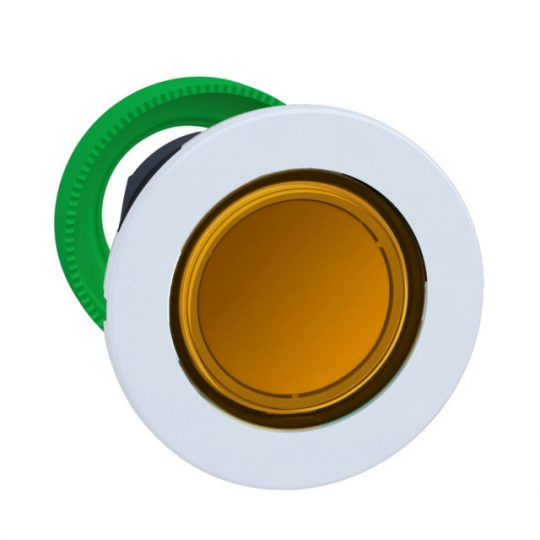 Schneider ZB5FH053C1 Harmony panelbe süllyesztett műanyag világító nyomógomb fej, Ø30, narancssárga, nyomó-nyomó, fehér perem