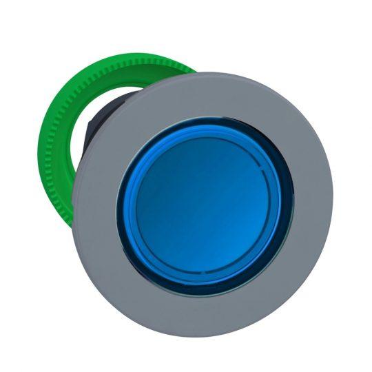 Schneider ZB5FH063C0 Harmony panelbe süllyesztett műanyag világító nyomógomb fej, Ø30, kék, nyomó-nyomó, szürke perem