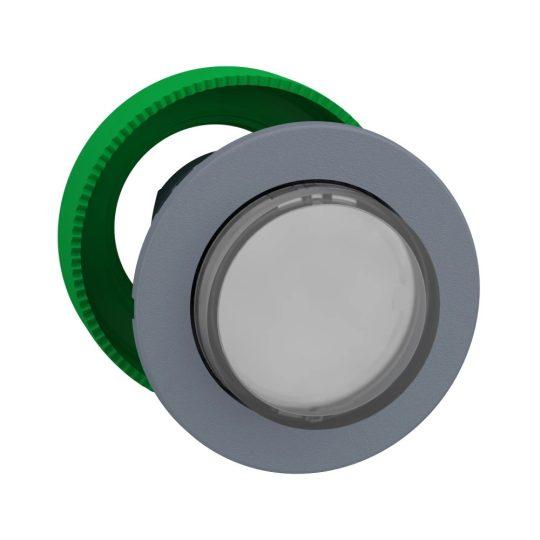 Schneider ZB5FH13C0 Harmony panelbe süllyesztett műanyag világító nyomógomb fej, Ø30, kiemelkedő, fehér, nyomó-nyomó, szürke perem