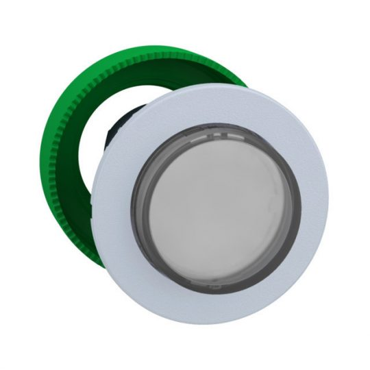 Schneider ZB5FH13C1 Harmony panelbe süllyesztett műanyag világító nyomógomb fej, Ø30, kiemelkedő, fehér, nyomó-nyomó, fehér perem