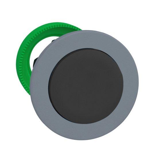 Schneider ZB5FH2C0 Harmony panelbe süllyesztett műanyag nyomógomb fej, Ø30, kiemelkedő, fekete, nyomó-nyomó, szürke perem