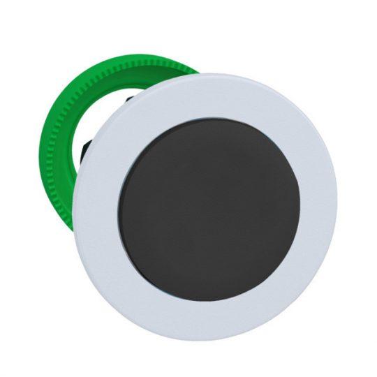 Schneider ZB5FH2C1 Harmony panelbe süllyesztett műanyag nyomógomb fej, Ø30, kiemelkedő, fekete, nyomó-nyomó, fehér perem