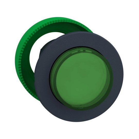 Schneider ZB5FH33 Harmony panelbe süllyesztett műanyag világító nyomógomb fej, Ø30, kiemelkedő, zöld, nyomó-nyomó