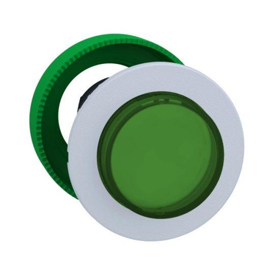 Schneider ZB5FH33C1 Harmony panelbe süllyesztett műanyag világító nyomógomb fej, Ø30, kiemelkedő, zöld, nyomó-nyomó, fehér perem