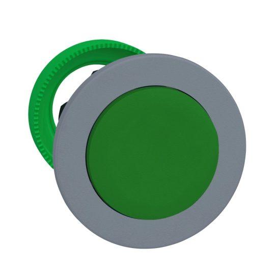Schneider ZB5FH3C0 Harmony panelbe süllyesztett műanyag nyomógomb fej, Ø30, kiemelkedő, zöld, nyomó-nyomó, szürke perem