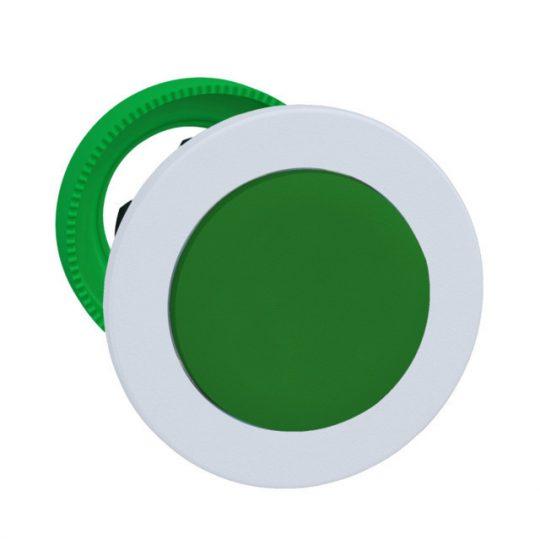 Schneider ZB5FH3C1 Harmony panelbe süllyesztett műanyag nyomógomb fej, Ø30, kiemelkedő, zöld, nyomó-nyomó, fehér perem