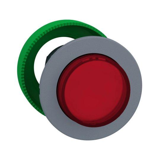 Schneider ZB5FH43C0 Harmony panelbe süllyesztett műanyag világító nyomógomb fej, Ø30, kiemelkedő, piros, nyomó-nyomó, szürke perem