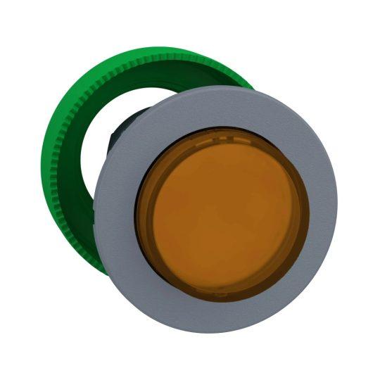 Schneider ZB5FH53C0 Harmony panelbe süllyesztett műanyag világító nyomógomb fej, Ø30, kiemelkedő, narancs, nyomó-nyomó, szürke perem