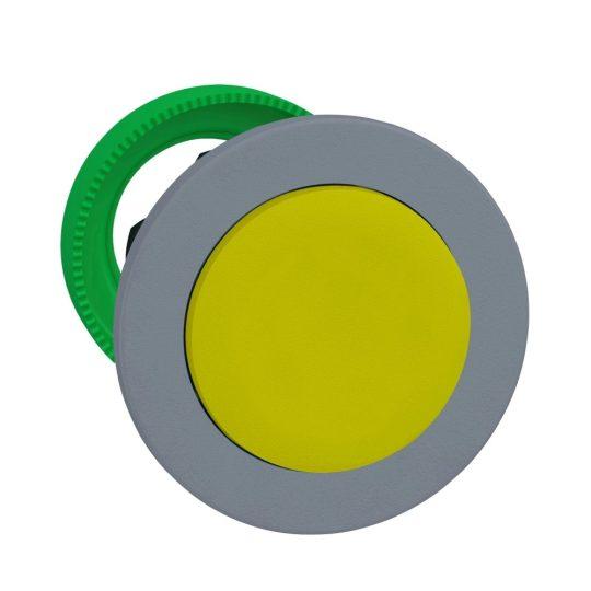 Schneider ZB5FH5C0 Harmony panelbe süllyesztett műanyag nyomógomb fej, Ø30, kiemelkedő, sárga, nyomó-nyomó, szürke perem